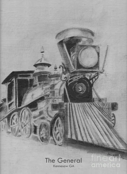 Drawing - The General - Train - Big Shanty Kennesaw Ga by Jan Dappen