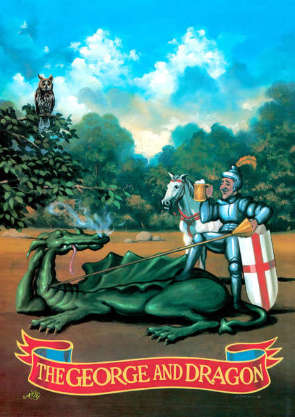 Wall Art - Painting - The George And Dragon by MGL Meiklejohn Graphics Licensing