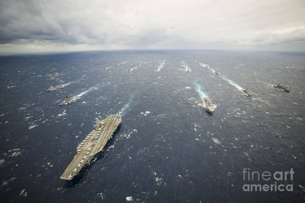 Uss George Washington Wall Art - Photograph - The George Washington Strike Group by Stocktrek Images