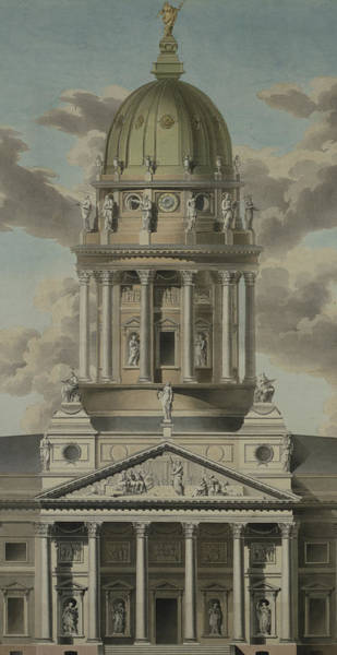 Baroque Drawing - The German Cathedral On The Gendarmenmarkt by GF Kluge