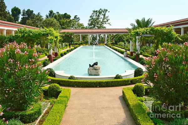 Getty Villa Photograph - The Getty Villa Main Courtyard. by Jamie Pham