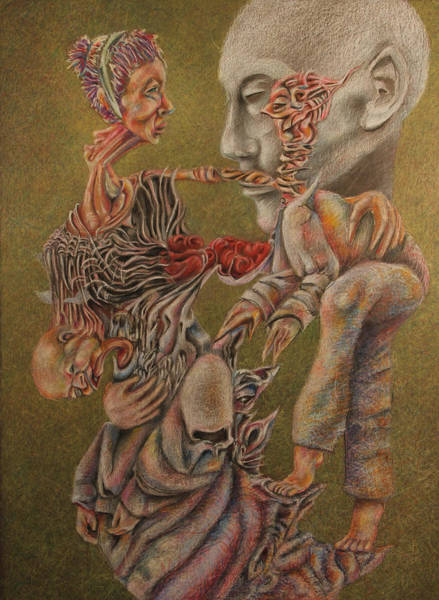 Surrealist Drawing - The Ghost Of Time And Memory by Michael Sienerth