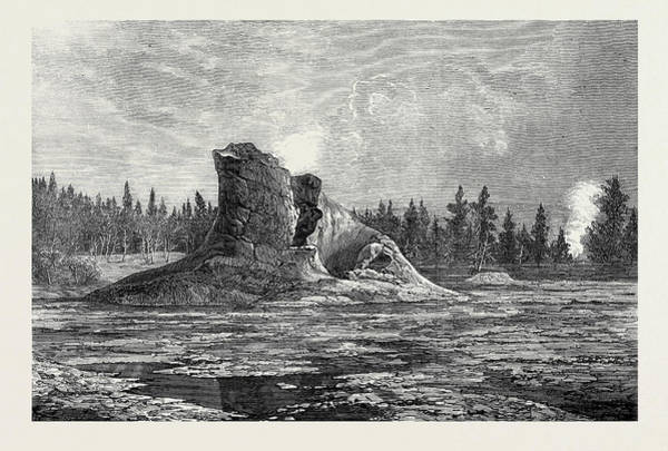 Montana Drawing - The Giant Geyser Montana North America 1873 by English School