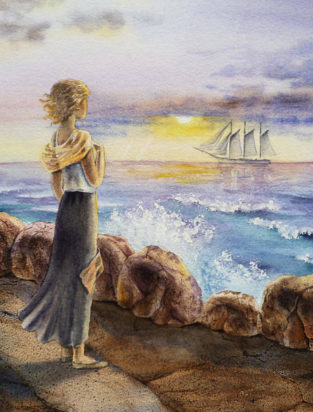 Scarf Wall Art - Painting - The Girl And The Ocean by Irina Sztukowski