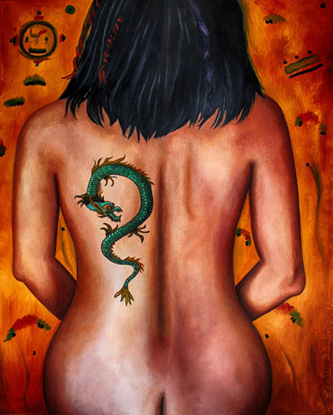 Painting - The Girl With The Dragon Tattoo Edit 3 by Leah Saulnier The Painting Maniac