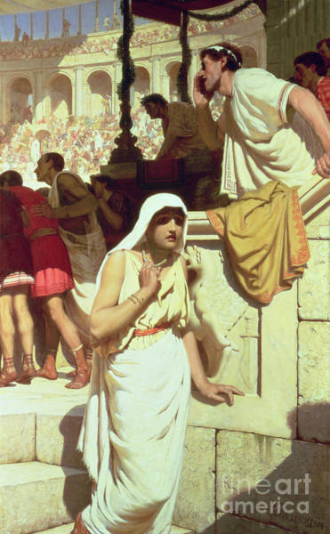 Turning Painting - The Gladiators Wife by Edmund Blair Leighton