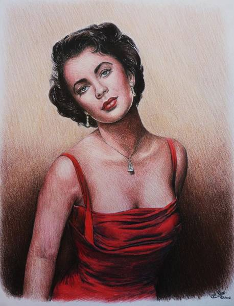 Nostalgia Drawing - The Glamour Days Elizabeth Taylor by Andrew Read