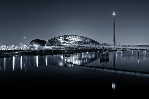 Photograph - The Glasgow Science Centre In Black And White by Stephen Taylor
