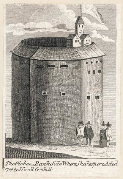 Globe Theatre Drawing - The Globe Theatre, Bankside, London by Mary Evans Picture Library