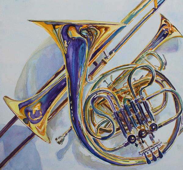 Trombone Wall Art - Painting - The Glow Of Brass by Jenny Armitage