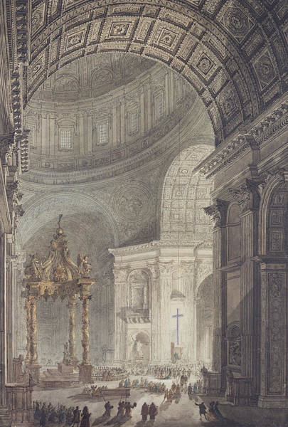Holy Thursday Painting - The Glowing Cross In St Peters, Rome, On Maundy Thursday by Charles Norry