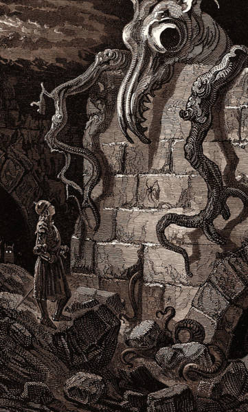 Dor Drawing - The Gnarled Monster, By Gustave DorÉ, A Scene by Litz Collection