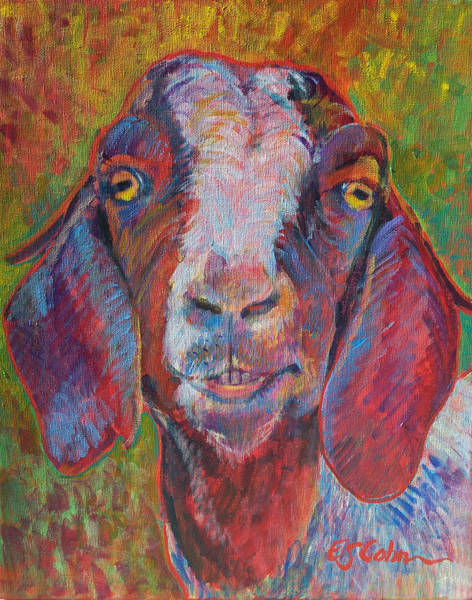 Mountain Goat Wall Art - Painting - The Goat That Smiled by Edie Cohn