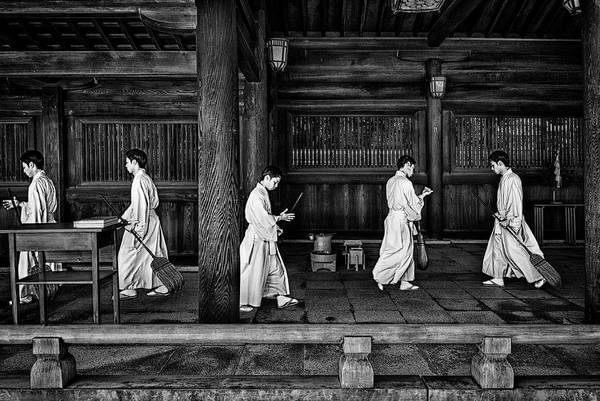 Wall Art - Photograph - The Going And The Being Back Of A Monk In The Sweeping Of The Temple (tokio) by Joxe Inazio Kuesta