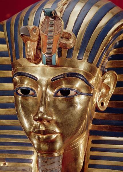 Egypt Photograph - The Gold Mask, From The Treasure Of Tutankhamun C.1370-52 Bc C.1340 Bc Gold Inlaid by Egyptian 18th Dynasty