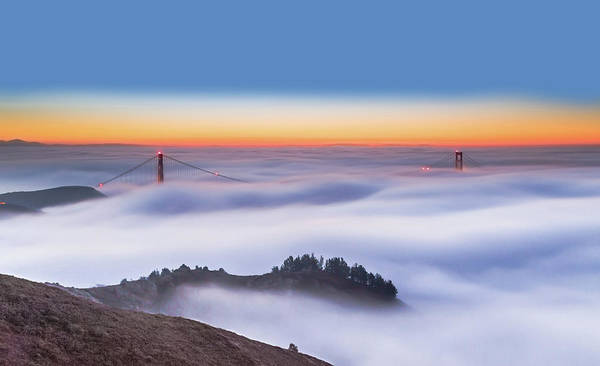 Golden Photograph - The Golden Gate Bridge In The Fog by Jenny Qiu