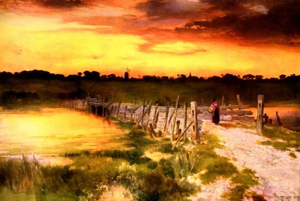 Fence Post Digital Art - The Golden Hour by Thomas Moran