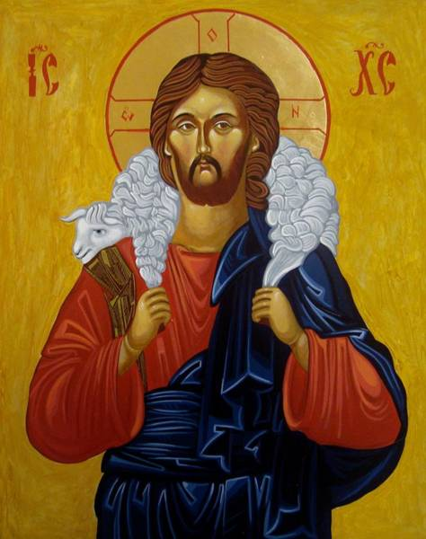 Greek Icon Painting - The Good Shepherd by Joseph Malham