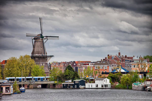 Houseboat Photograph - The Gooyer Windmill In The City Of Amsterdam by Artur Bogacki