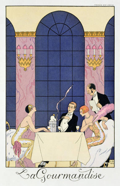 Champagne Painting - The Gourmands by Georges Barbier