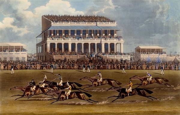 Stand Out Wall Art - Painting - The Grand Stand At Epsom Races, Print by James Pollard
