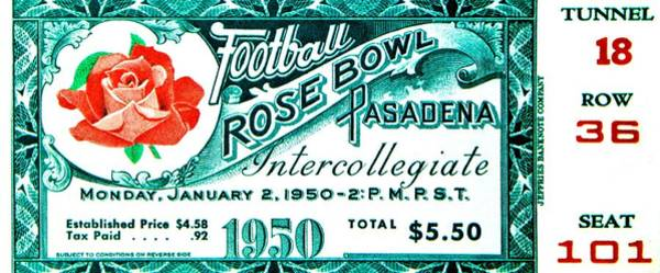 Rose Bowl Photograph - The Granddaddy 1950 by Benjamin Yeager