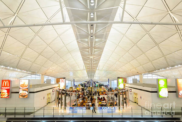 Photograph - The Grandeur Of Modern Architecture - Hong Kong International Airport Main Terminal Interior by David Hill