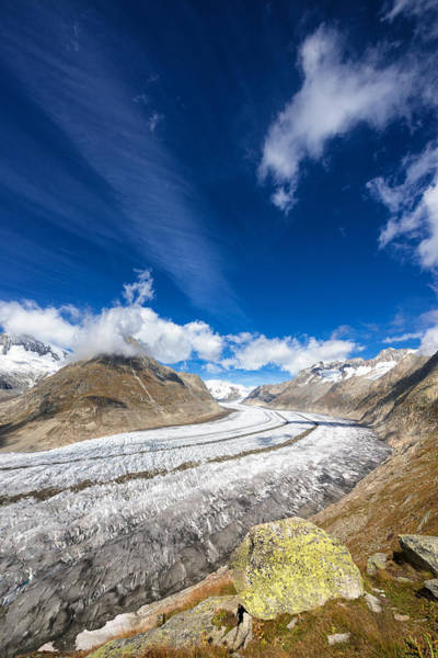Photograph - The Great Aletsch Glacier And Deep Blue Sky by Matthias Hauser