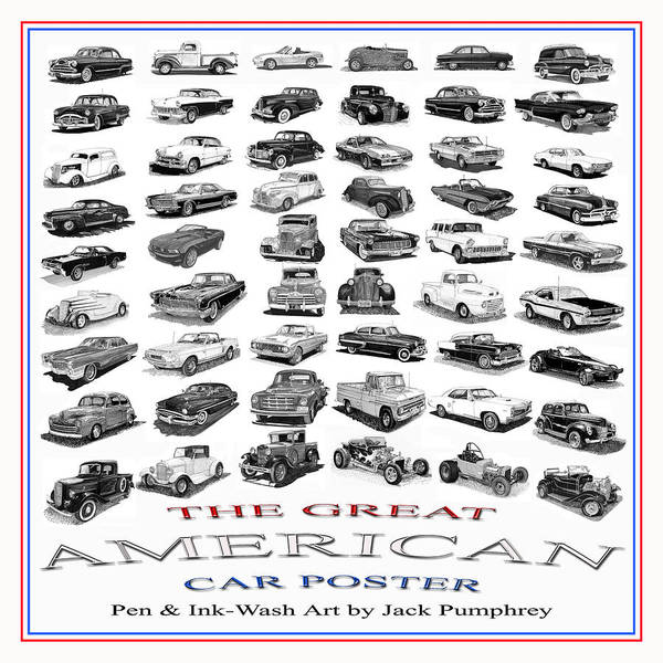Collectible Art Drawing - Great American Car Poster by Jack Pumphrey