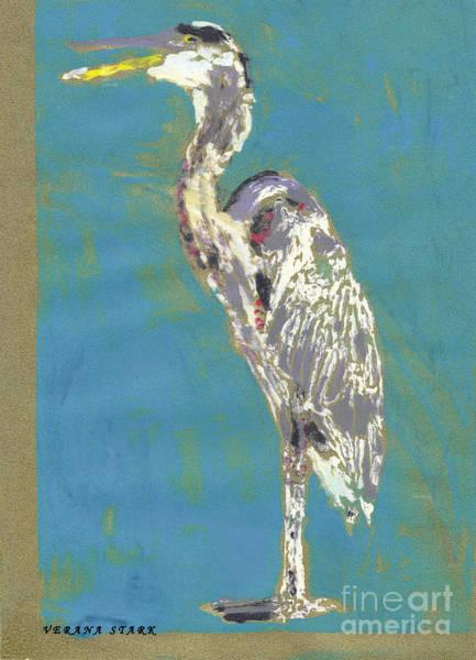 Great Blue Heron Mixed Media - The Great Blue Heron Monoprint by Verana Stark
