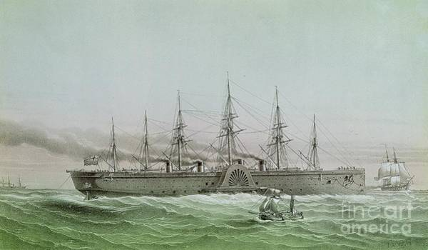 Wall Art - Painting - The Great Eastern Laying Electrical Cable Between Europe And America by Louis Le Breton