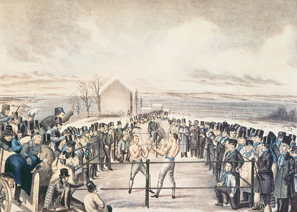 Boxing Painting - The Great Fight Between Tom Hyer And Yankee Sullivan by James S Baillie