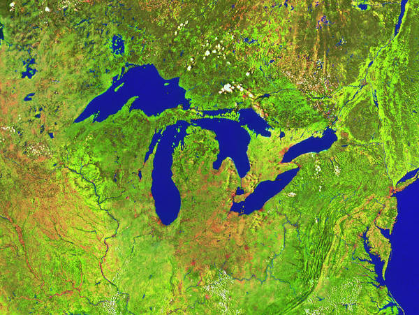 Wall Art - Photograph - The Great Lakes by Worldsat International Inc./science Photo Library
