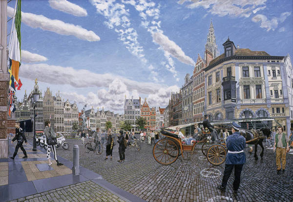 Belgian Photograph - The Great Market Square In Antwerp, 1996 Oil On Board by Huw S. Parsons