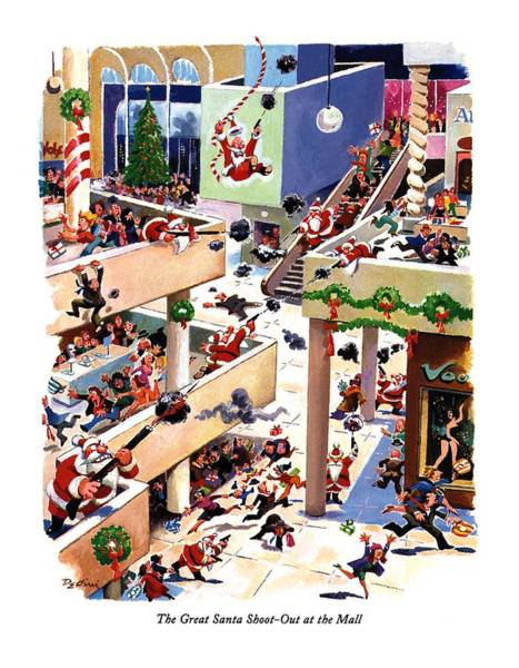 Shooting Drawing - The Great Santa Shoot-out At The Mall by Eldon Dedini
