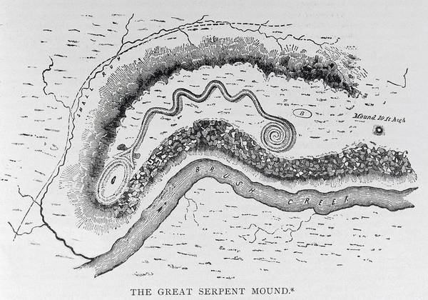 Structure Drawing - The Great Serpent Mound, Near Locust Grove, Ohio, Second Century Bc, From Narrative And Critical by English School