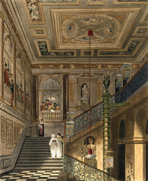 Elaborate Wall Art - Drawing - The Great Staircase At Kensington by Charles Wild
