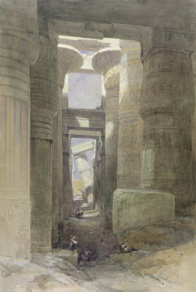 Hieroglyph Photograph - The Great Temple Of Amon Karnak, The Hypostyle Hall, 1838 Wc & Gouache Over Graphite On Paper by David Roberts