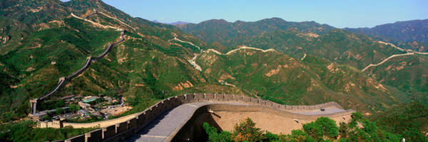 Fortification Photograph - The Great Wall At Badaling In Beijing by Panoramic Images