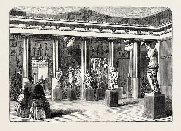 Royal Court Drawing - The Greek Court At The Crystal Palace Sydenham 1854 Uk by English School