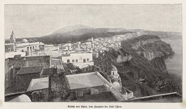 Wall Art - Drawing - The Greek Island Of Thera Which by Mary Evans Picture Library