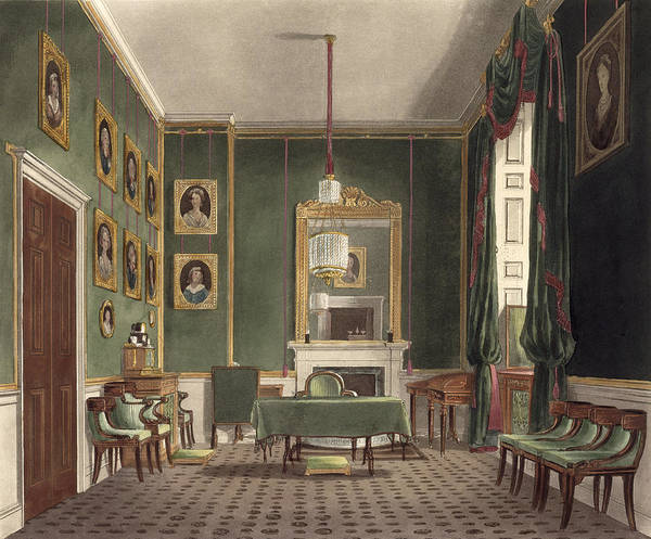 Interiors Drawing - The Green Closet, Buckingham House by James Stephanoff