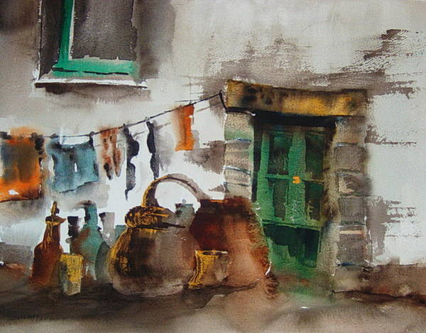 Painting - The Green Door by Val Byrne