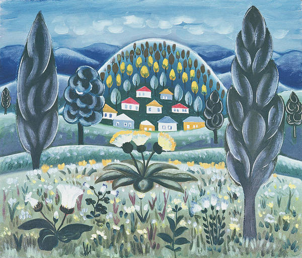Mound Photograph - The Green Dreams, 1967 Oil On Canvas by Radi Nedelchev