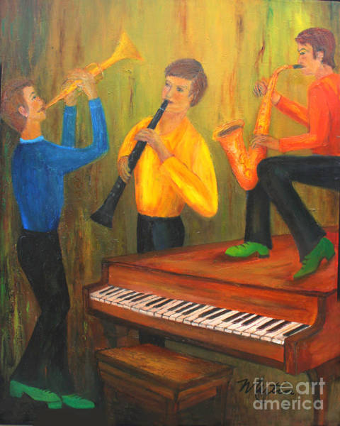 Sax Painting - The Green Shoe Quartet by Larry Martin