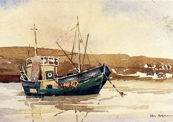 Mixed Media - The Green Trawler by Val Byrne