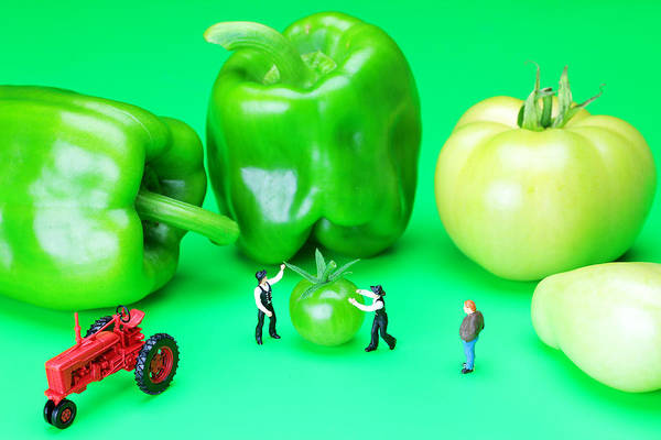 Wall Art - Photograph - The Green Vegetables Little People On Food by Paul Ge