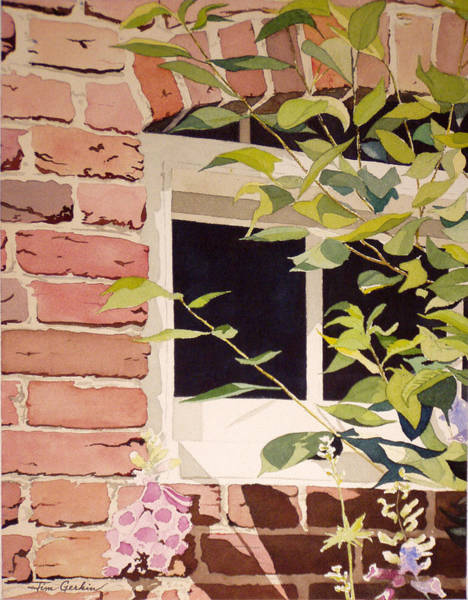 Monticello Painting - The Greenhouse Window by Jim Gerkin