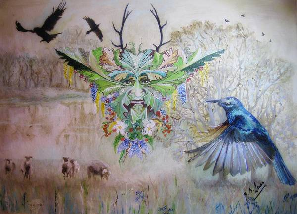 Wiccan Painting - The Greenman Cometh by Siobhan Lewis