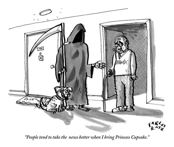 Better Drawing - The Grim Reaper Brings A Small Puppy by Farley Katz